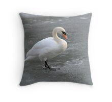 Skating Swan Throw Pillow