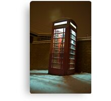 Snowy Phone Box Canvas Print