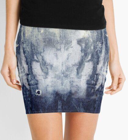 bleached indigo Jeans Mini Skirt