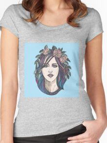 Beautiful woman with roses wreath and blue hair.  Women's Fitted Scoop T-Shirt