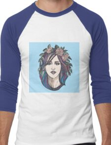 Beautiful woman with roses wreath and blue hair.  Men's Baseball ¾ T-Shirt