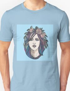 Beautiful woman with roses wreath and blue hair.  T-Shirt