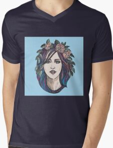Beautiful woman with roses wreath and blue hair.  Mens V-Neck T-Shirt