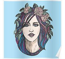 Beautiful woman with roses wreath and blue hair.  Poster