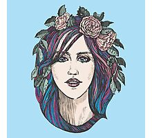 Beautiful woman with roses wreath and blue hair.  Photographic Print