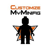 Black Minifig Standing, in front of Customize My Minifig Logo by Customize My Minifig