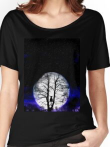 black cat and full moon Women's Relaxed Fit T-Shirt