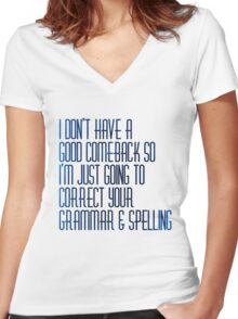 Grammar nazi Women's Fitted V-Neck T-Shirt