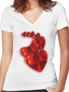 Chain of Hearts Women's Fitted V-Neck T-Shirt