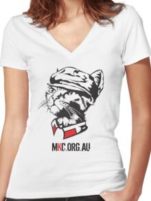Chairman Meow Senior with MKC Logo Women's Fitted V-Neck T-Shirt