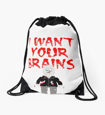 I WANT YOUR BRAINS ZOMBIE MINIFIG Drawstring Bag