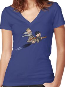 Master and Wizard Women's Fitted V-Neck T-Shirt