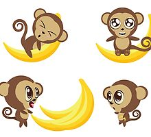Monkey with Banana by AnnArtshock