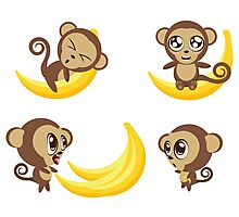 Monkey with Banana Photographic Print