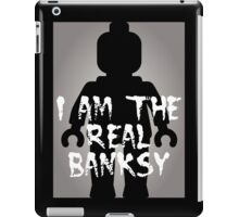 "Black Minifig with ""I am the Real Banksy"" slogan [Large] by Customize My Minifig iPad Case/Skin"