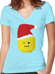 Santa Minifig by Customize My Minifig Women's Fitted V-Neck T-Shirt