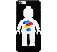 White Minifig with Bricks Logo by Customize My Minifig iPhone Case/Skin