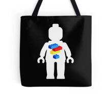 White Minifig with Bricks Logo by Customize My Minifig Tote Bag
