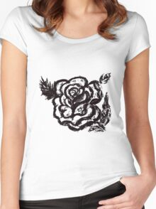 Rose Sketch  Women's Fitted Scoop T-Shirt