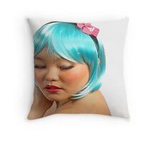 the blue wig Throw Pillow