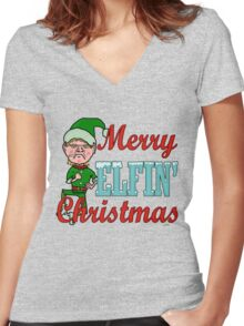 Funny Merry Elfin Christmas Bah Humbug Women's Fitted V-Neck T-Shirt