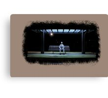 Sitting on the railway station  Canvas Print
