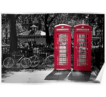 London - Red Phonebooths Poster