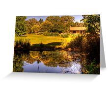 Reflections on the pond at Lavender Fields Cottage Greeting Card