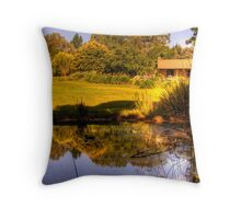 Reflections on the pond at Lavender Fields Cottage Throw Pillow