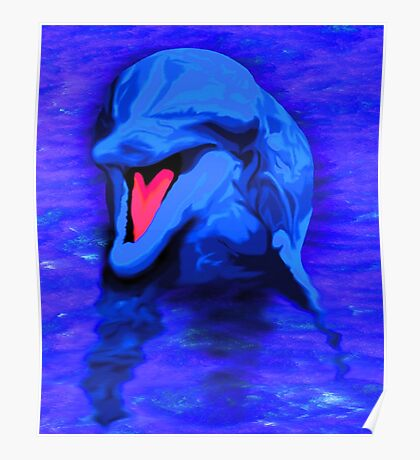Bright Blue Dolphin artwork Poster