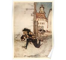Snowdrop & Other Tales by Jacob Grimm art Arthur Rackham 1920 0155 Running After with a Carving Knife Poster