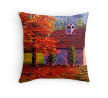 Connecticut Autumn Shed Throw Pillow