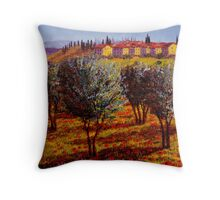 Tuscany Village Above the Olive Grove Throw Pillow