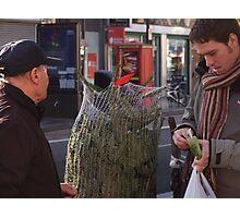 Dan paying for a christmas tree. Photographic Print
