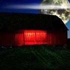 Red Barn At Midnight by mark4321