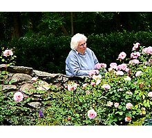 Grandma Cutting Roses Photographic Print