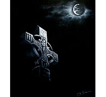 Celtic Cross In The Moonlight Photographic Print
