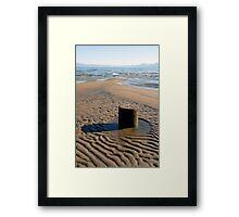 Wooden Pier in Sand Framed Print