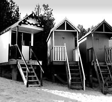 Beach Huts in Monochrome by johnny2sheds