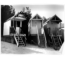 Beach Huts in Monochrome Poster