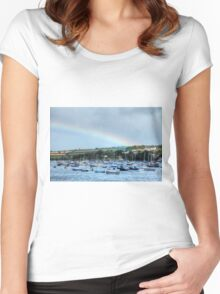 Rainbow Over Falmouth Harbour Women's Fitted Scoop T-Shirt