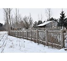 Wooden Picket Fence and Barn Photographic Print