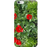Flowerbed with red tulips iPhone Case/Skin