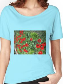 Flowerbed with red tulips Women's Relaxed Fit T-Shirt