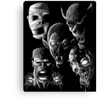 Monsters - Vampire, Werewolf, Zombie, Mummy and Frankenstein Canvas Print