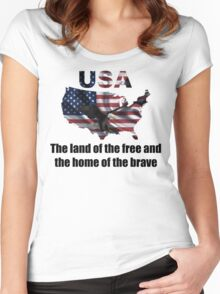 USA : The Land of The Free and The Home of The Brave Women's Fitted Scoop T-Shirt
