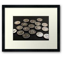 Coins - Fives Framed Print