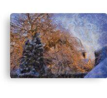 Snowy Trees in morning sun Canvas Print