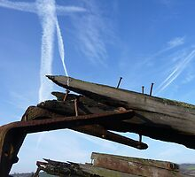 Purton Hulk detail with sky by Paul Davies