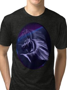 Horse Silhouette Shadowed Oval Tri-blend T-Shirt